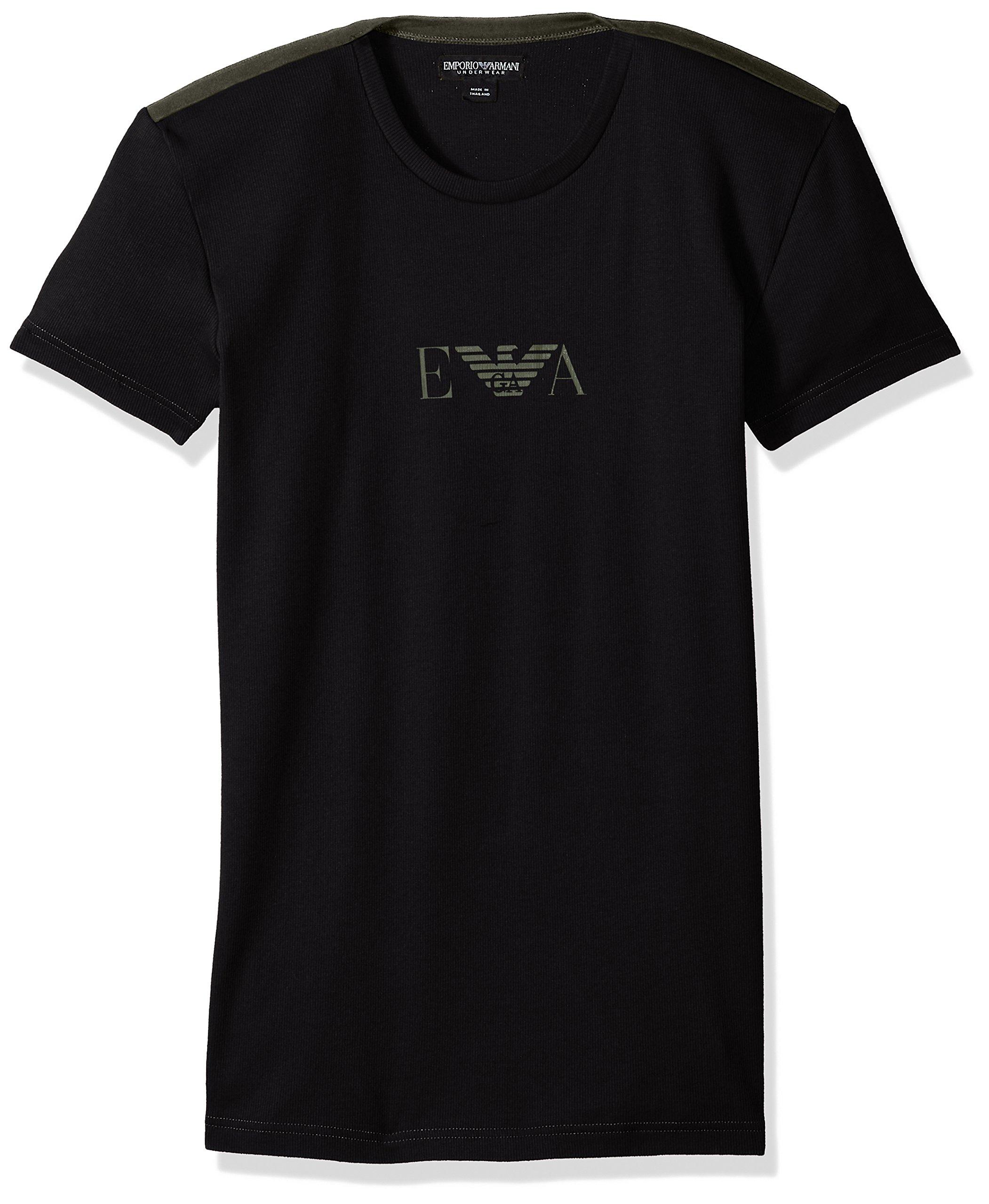 Emporio Armani Men's Stretch Cotton Boot Camp Rib T-Shirt, Black, L
