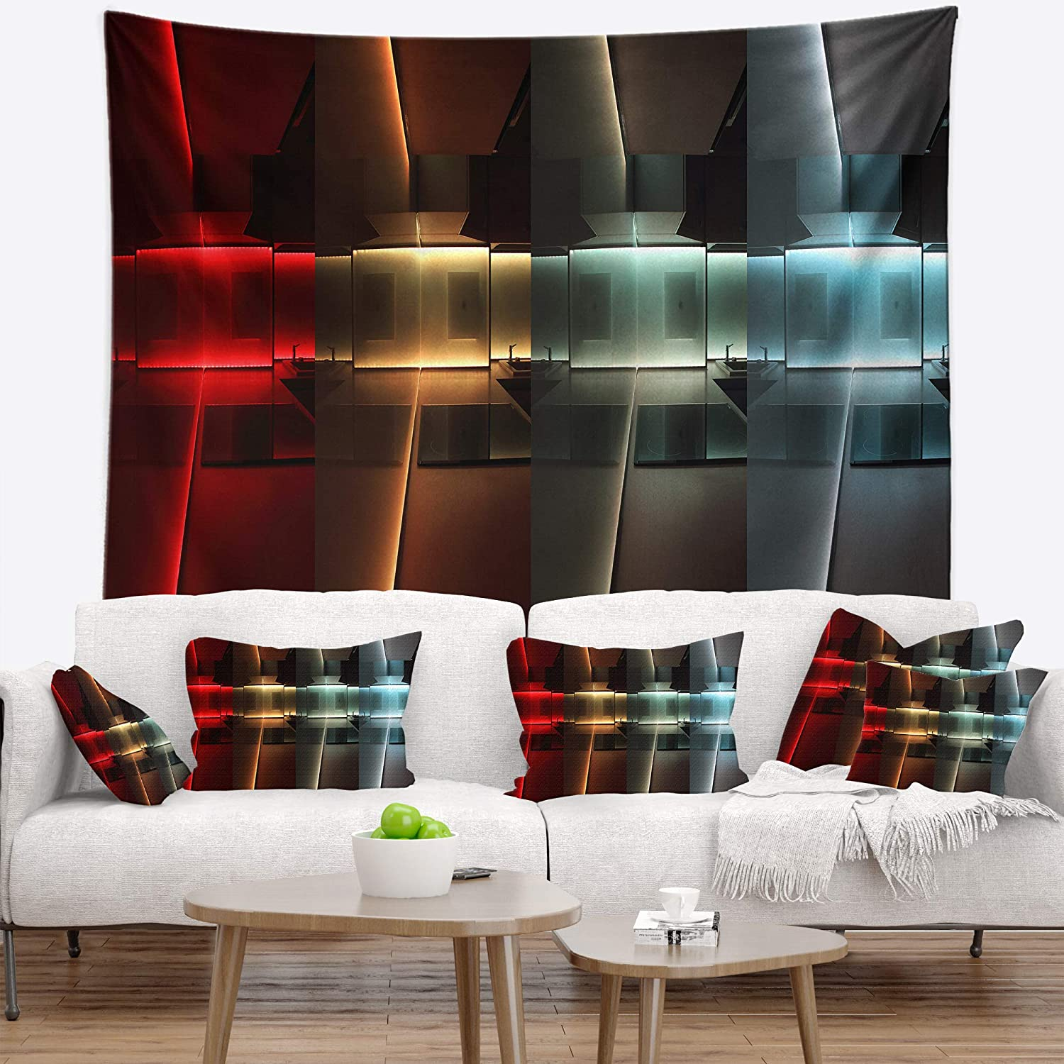 Designart TAP8255-80-68  Kitchen with LED Lighting Abstract Blanket D/écor Art for Home and Office Wall Tapestry x Large 80 x 68 Created On Lightweight Polyester Fabric