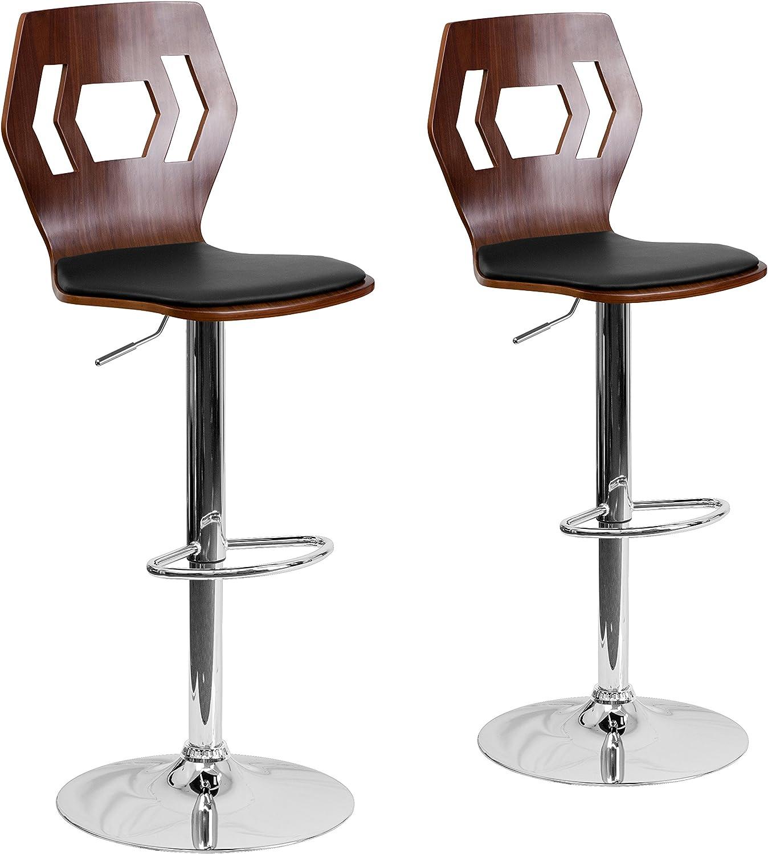 Flash Furniture 2 Pk. Walnut Bentwood Adjustable Height Barstool with Designer Cutout Back and Black Vinyl Seat