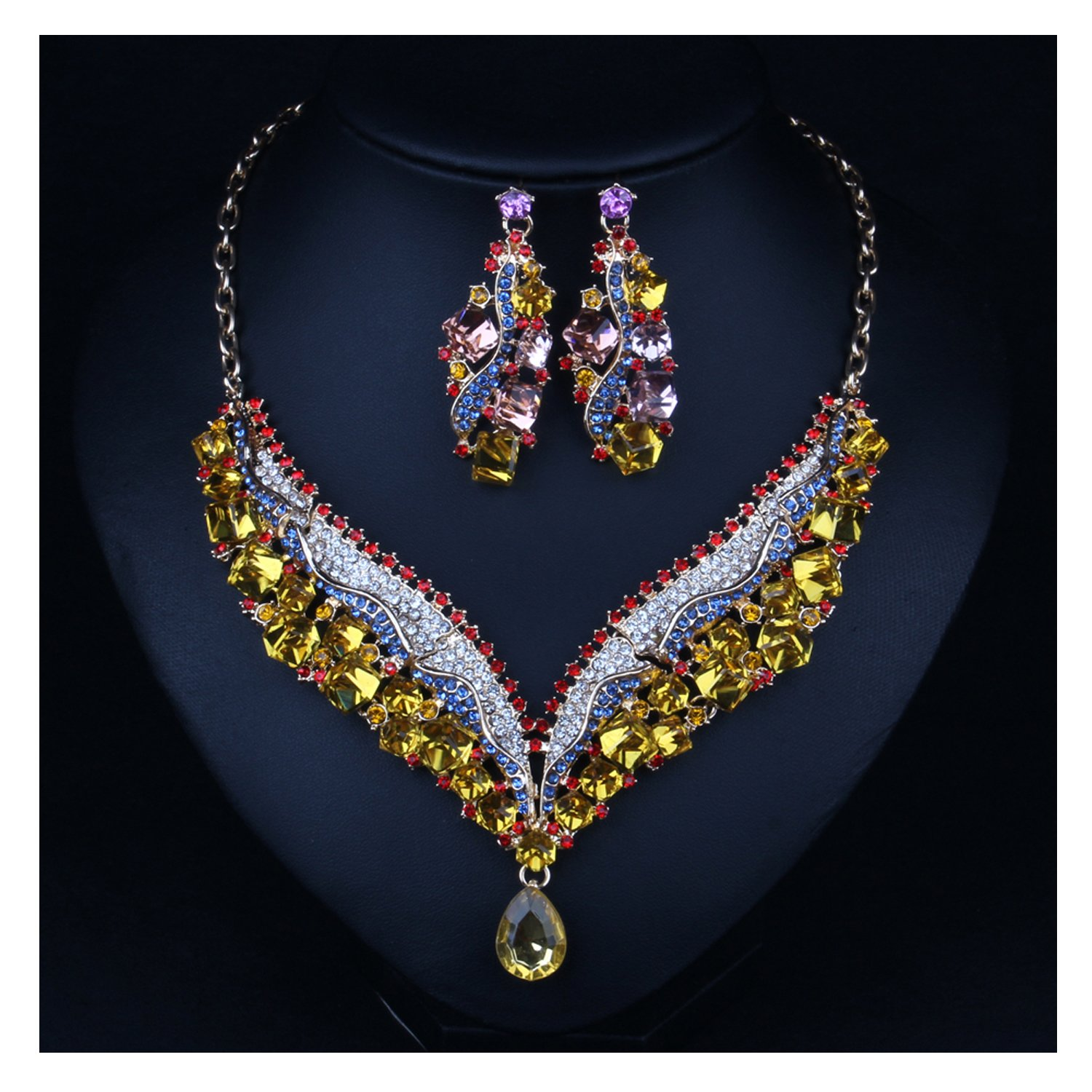 Hamer Charms Bridal Jewellery Crystal Statement Choker Necklace and Earrings Sets Pendant Costume Jewelry Women (Yellow)
