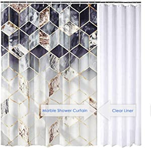 DESIHOM Black White Marble Shower Curtain 72x72 Inch Modern Plaid Geometric Shower Curtain Polyester Waterproof Shower Curtain Set with One Extra Clear Shower Curtain Liner