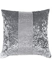 Red Rainbow Silver/Grey Diamante Sparkle Bling Crushed Velvet 18 inch Cushion Cover