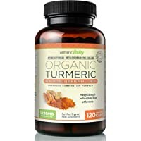 Turmeric Vitality Organic Turmeric Curcumin 1420mg High Strength Serving with Black Pepper & Ginger for Maximum Digestion & Absorption of Curcumin | 120 Veg Capsules - Certified Organic Supplement