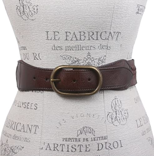 2de ancho tejido trenzado de cintura alta Full Grain cinturón de cuero