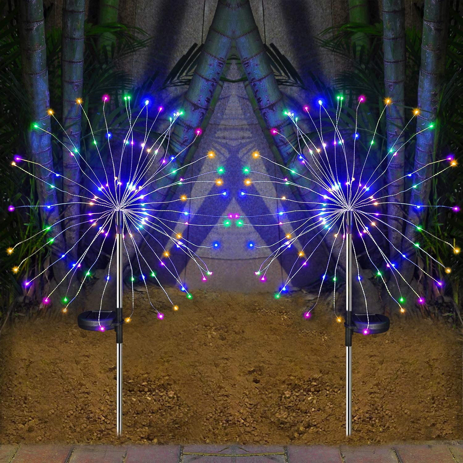 HeyMate Solar Lights Outdoor - 2 Pack Solar Garden Lights Outdoor Decorative with 105 LED Powered 35 Copper Wires Multi Color Solar Fireworks Lights for Walkway Patio Backyard Yard Lawn Christmas