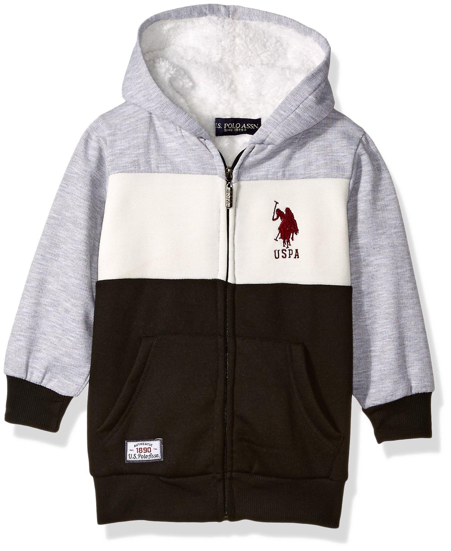 U.S. Polo Assn. Big Boys' Hooded Zip or Snap Fleece Jacket, Space Dye Colorblock Medium Grey, 14/16