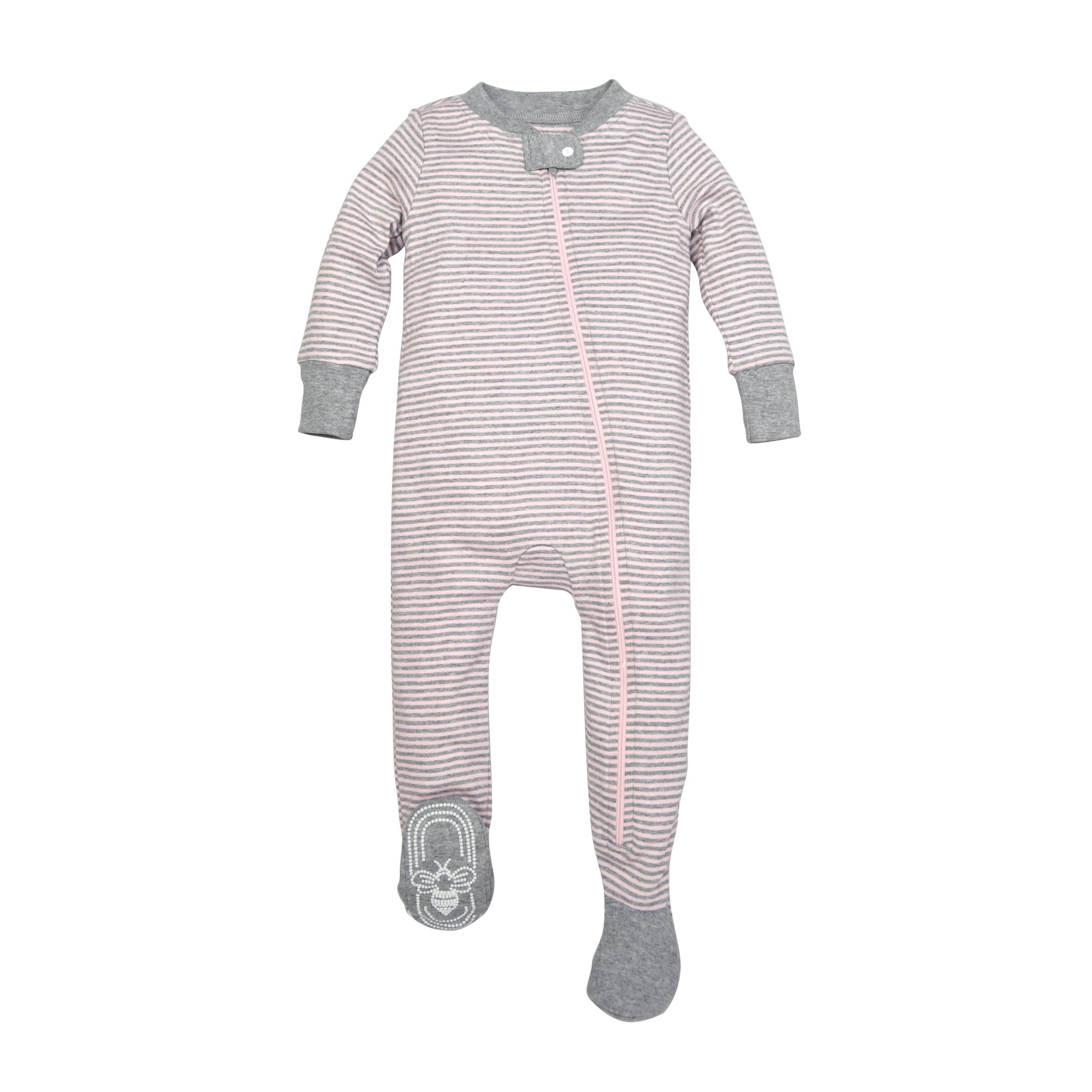 Burt's Bees Baby Baby Girls' Pajamas, Zip Front Non-Slip Footed Sleeper Pjs, 100% Organic Cotton, Blossom Classic Stripe, 12 Months
