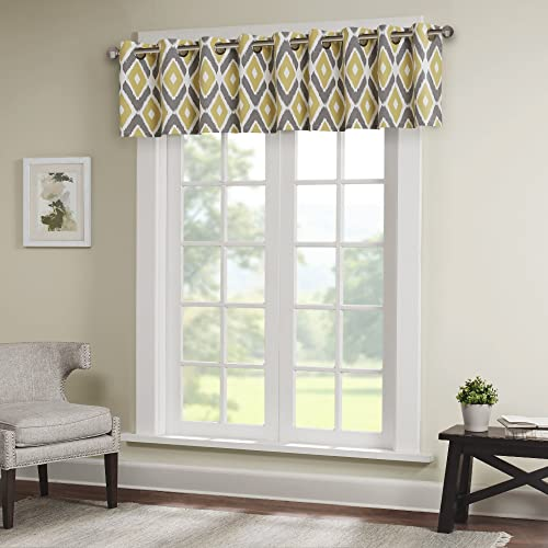 Ashlin Diamond Printed-Rod Pocket Valance , Contemporary Valances for Windows , 50X18 , Yellow
