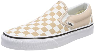 new arrival 4d481 4a44d Vans Unisex Adults' Classic Slip on Trainers, Beige ((Checkerboard)  Frappe/True White Qco), 5.5 UK 38.5 EU