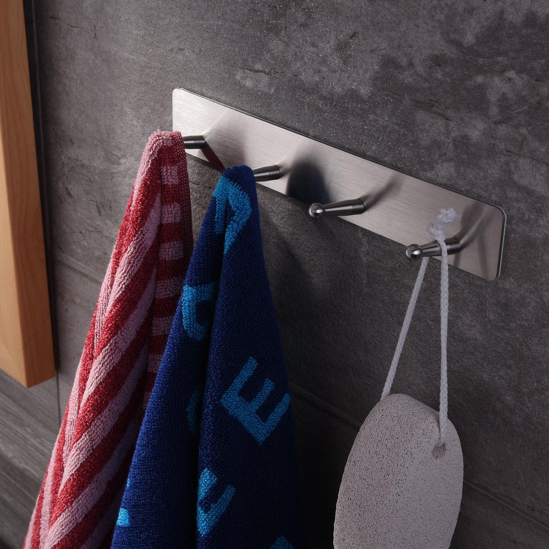 Taozun 3M Self Adhesive Hooks Rack 4-hooks Towel Holder Bath Coat Robe Hooks Bathroom Kitchen Hooks Hand Dish Key Stick on Wall SUS 304 Stainless Steel