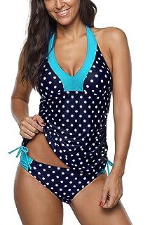 6e706e918a99 Amazon.com: ATTRACO Women's Stripes Print Tankini Swimsuits Modest 2 ...