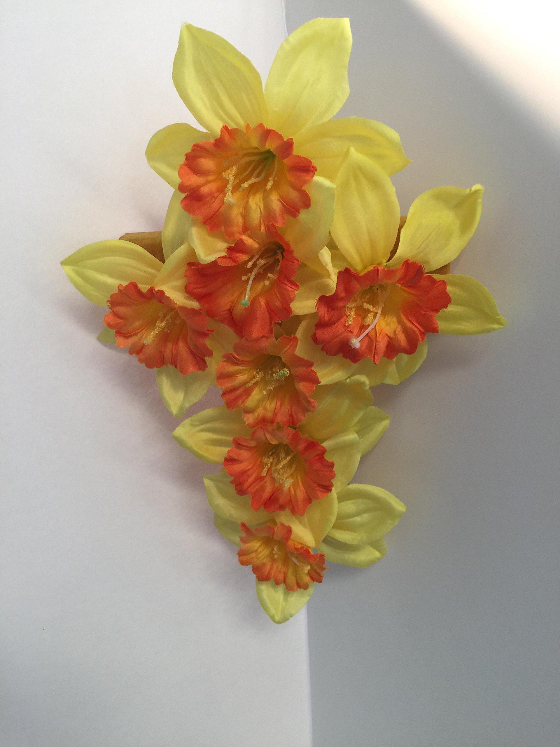 Large Cross Wall Decor - Yellow/Orange Daffodils