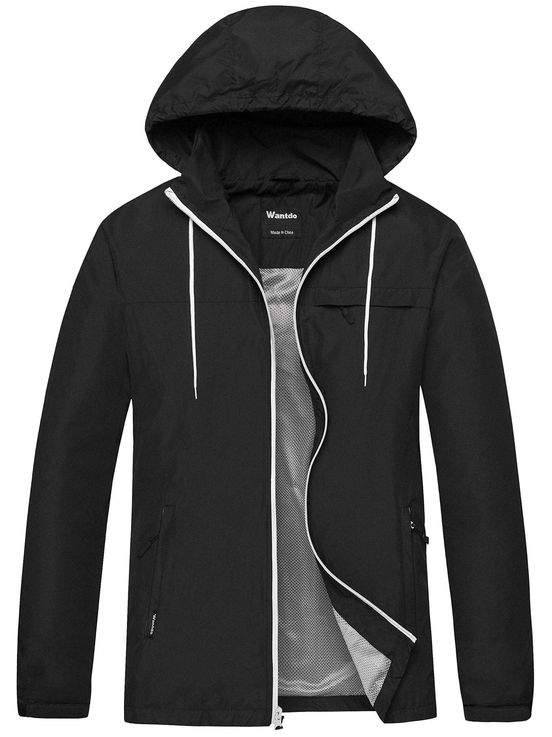 Wantdo Men's Windbreaker Shell Jacket Quick Dry UV Protect Skin Jacket with Folding Hood US Large Black