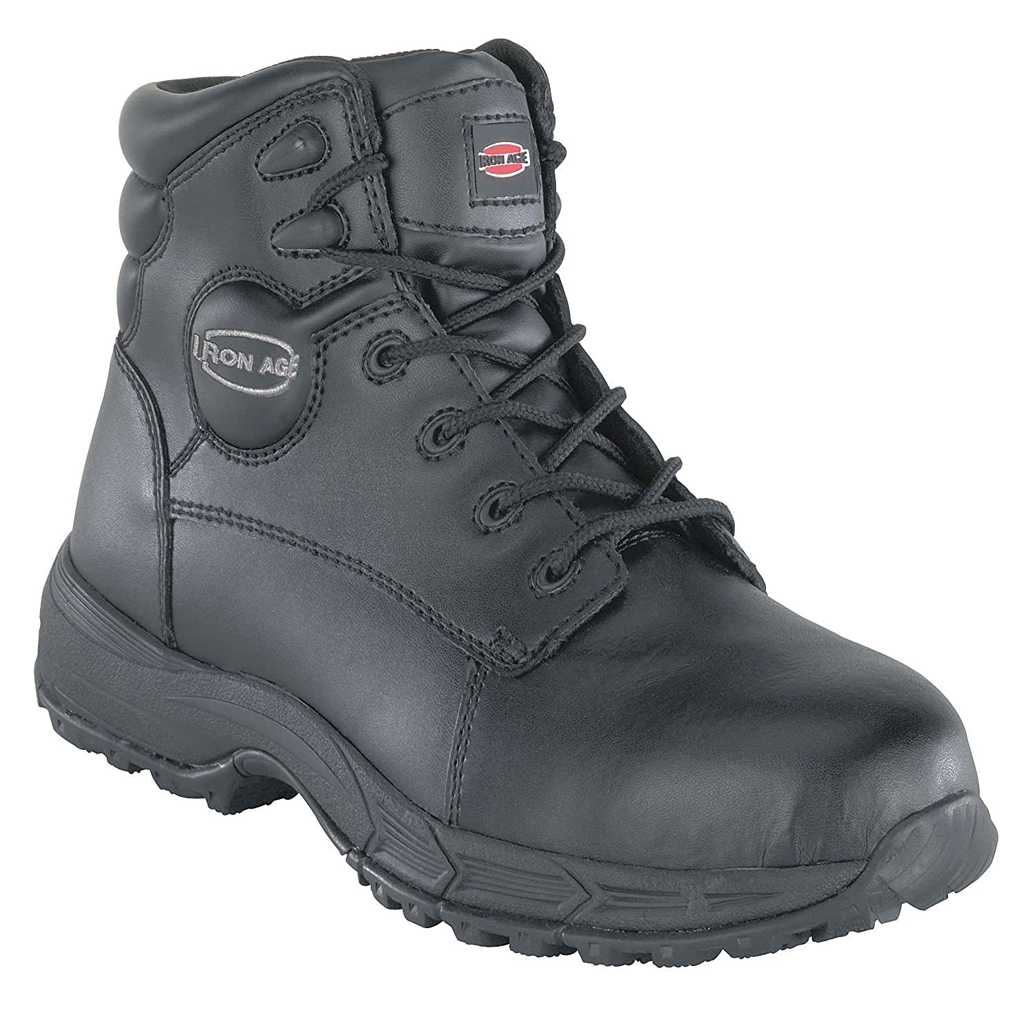 Leather Upper Material Size 6 6H Mens Athletic Style Work Boots Black IA5150-6W Steel Toe Type Iron Age