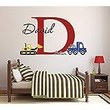 "Lovely Decals World LLC Custom Construction Truck Name Wall Decal for Boys Nursery Baby Room Art Decor Vinyl Sticker (34"" W x"