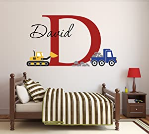 "Custom Construction Truck Name Wall Decal for Boys Nursery Baby Room Art Decor Vinyl Sticker (34""W x 22""H)"