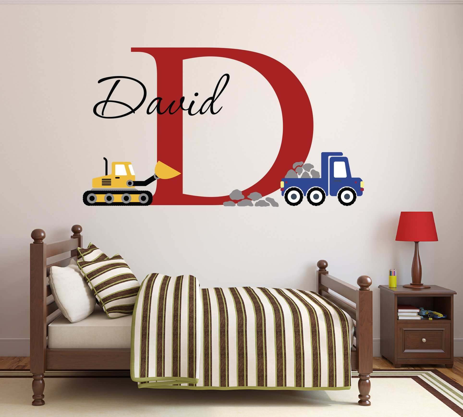 Custom Construction Truck Name Wall Decal for Boys Nursery Baby Room Art Decor Vinyl Sticker (20''W x 16''H)