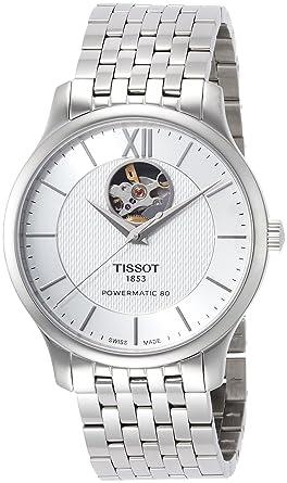 2dbbccbca Amazon.com: Tissot Men's Tradition Powermatic 80 Open Heart -  T0639071103800 Silver/Grey One Size: Watches