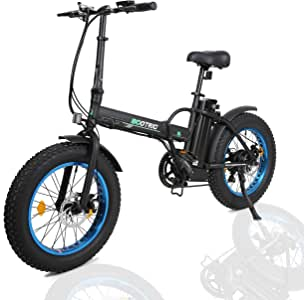 """ECOTRIC 20"""" New Fat Tire Folding Electric Bike Beach Snow Bicycle ebike 500W Electric Moped Electric Mountain Bicycles … (Black and Blue)"""