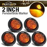 """Partsam 5pcs 2"""" Amber Round Sealed Clearance Marker Light 4 LED Mount Grommet/Pigtails"""