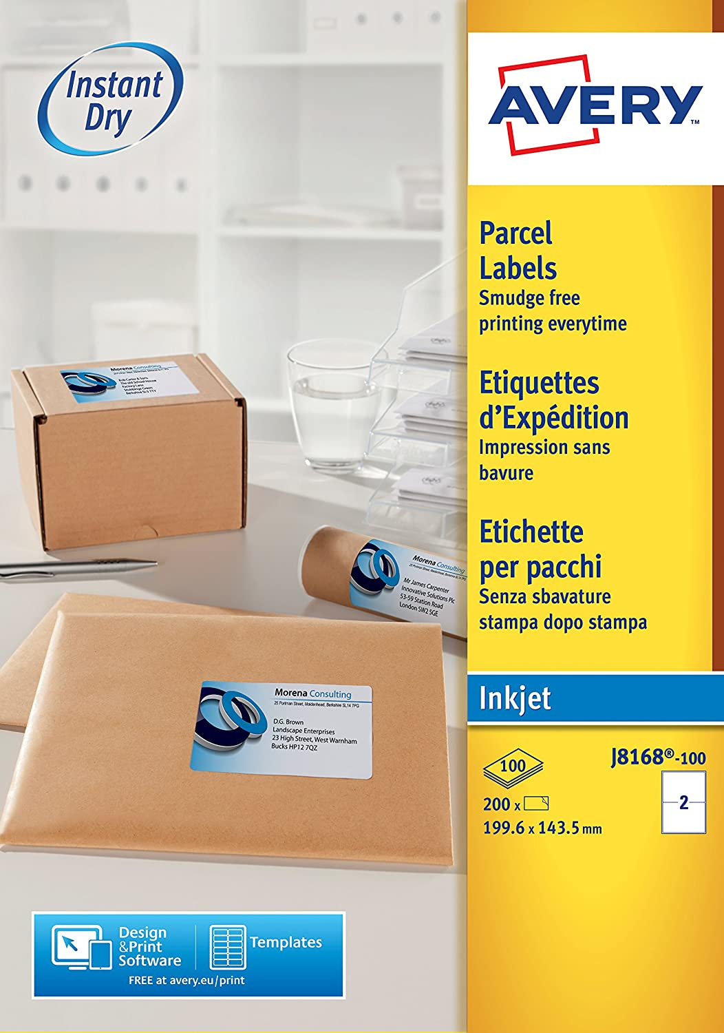 avery j8168 100 parcel shipping labels self adhesive 2 labels