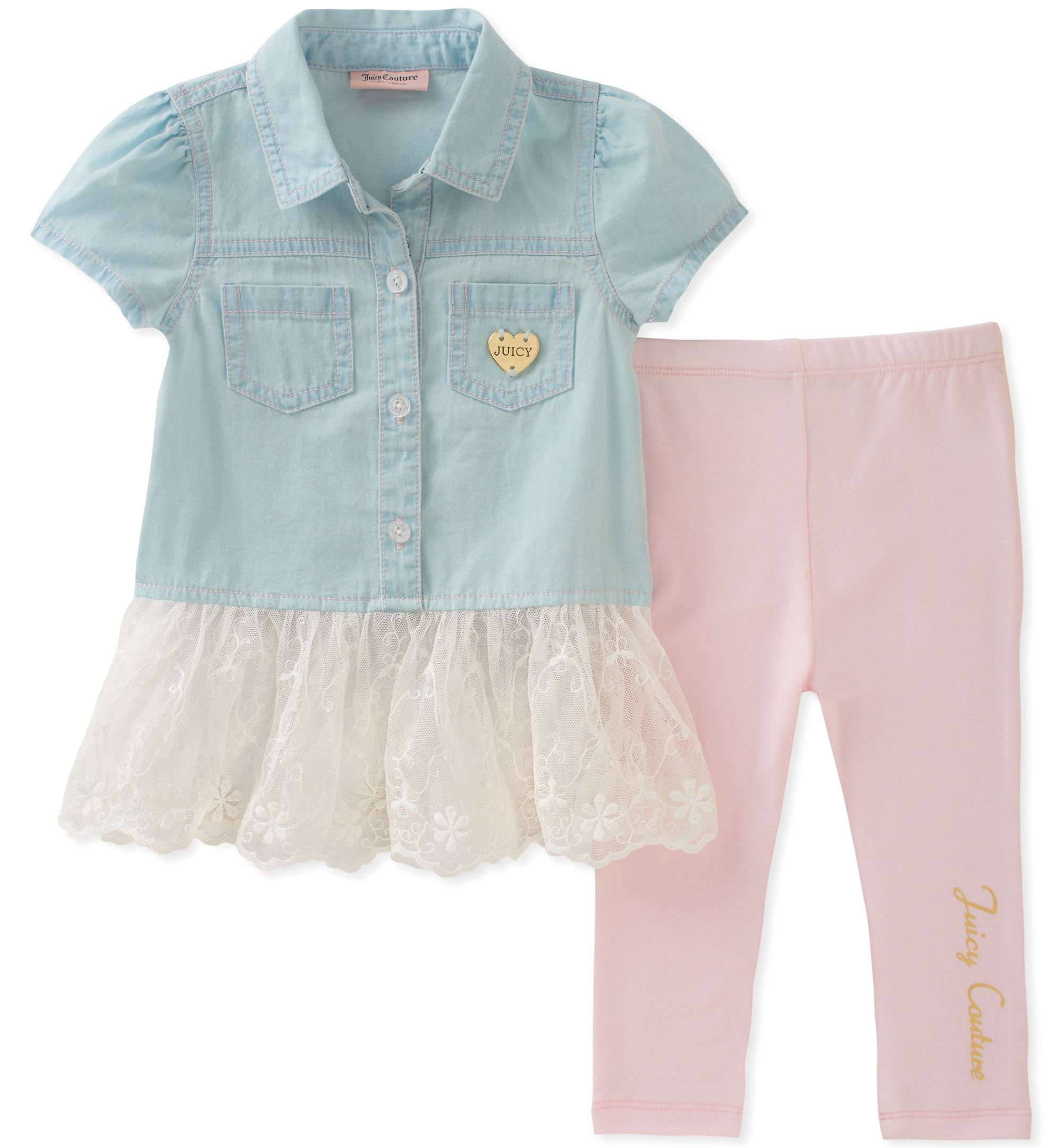 Juicy Couture Baby Girls 2 Pieces Tunic Sets, Blue/Pink, 12M