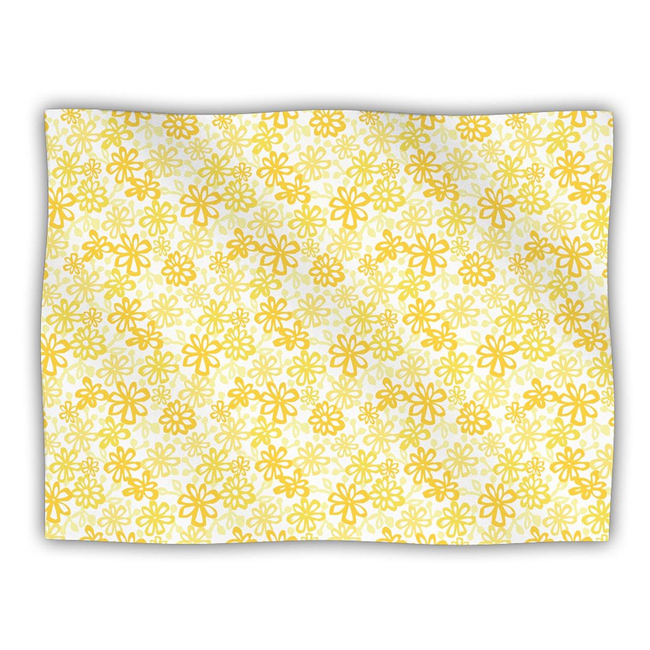 Kess InHouse Julie Hamilton 'Paper Daisy' Yellow Dog Blanket, 40 by 30-Inch