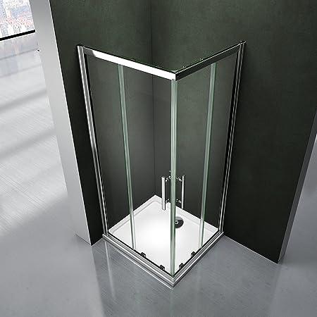 Cabina de ducha. Mampara con puerta corredera. Acceso en ángulo ...