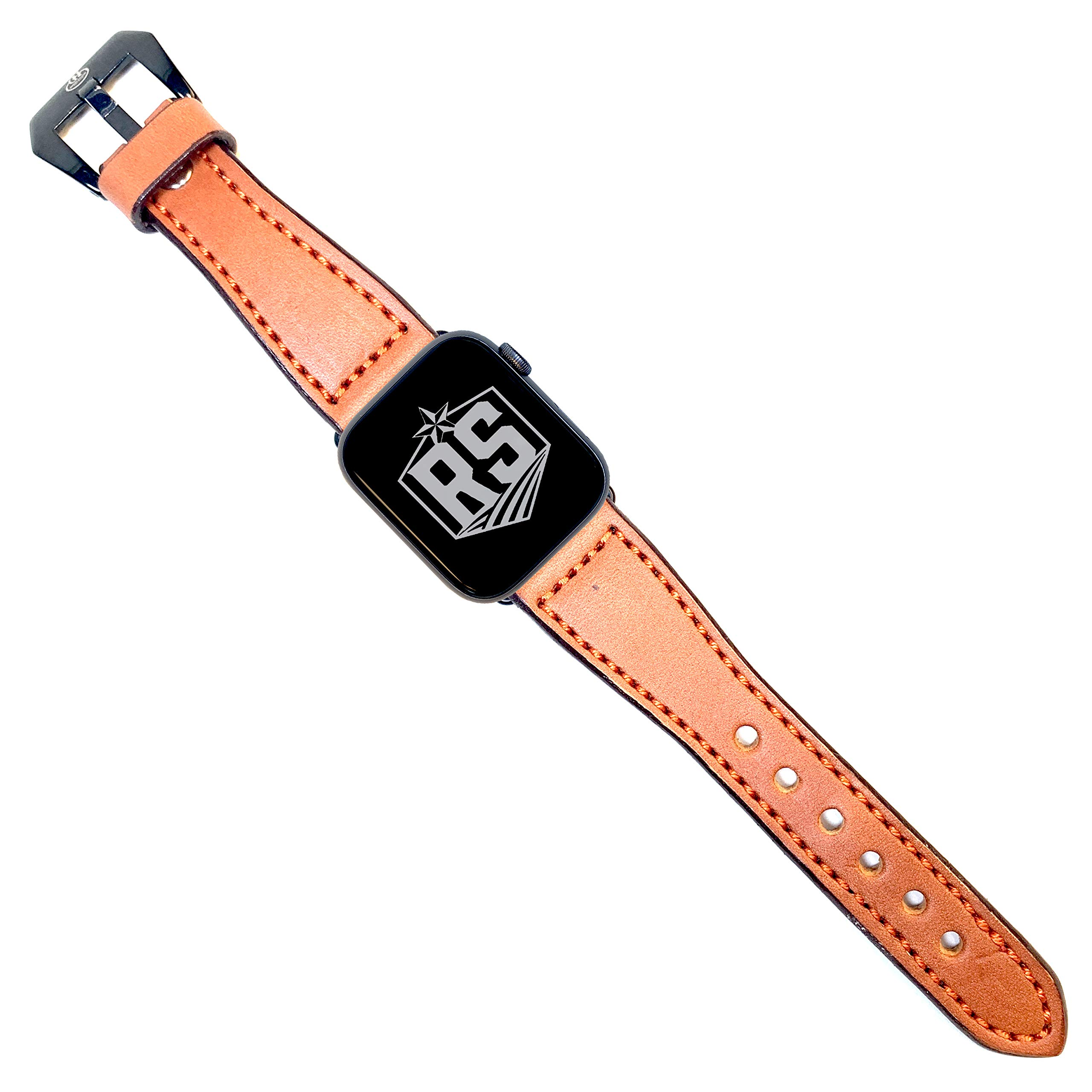 Rancher Supply English Bridle Watch Bands Compatible with Apple Watches | Tan Leather/Orange Stitching with Black Adapter and Buckle 42MM by Rancher Supply