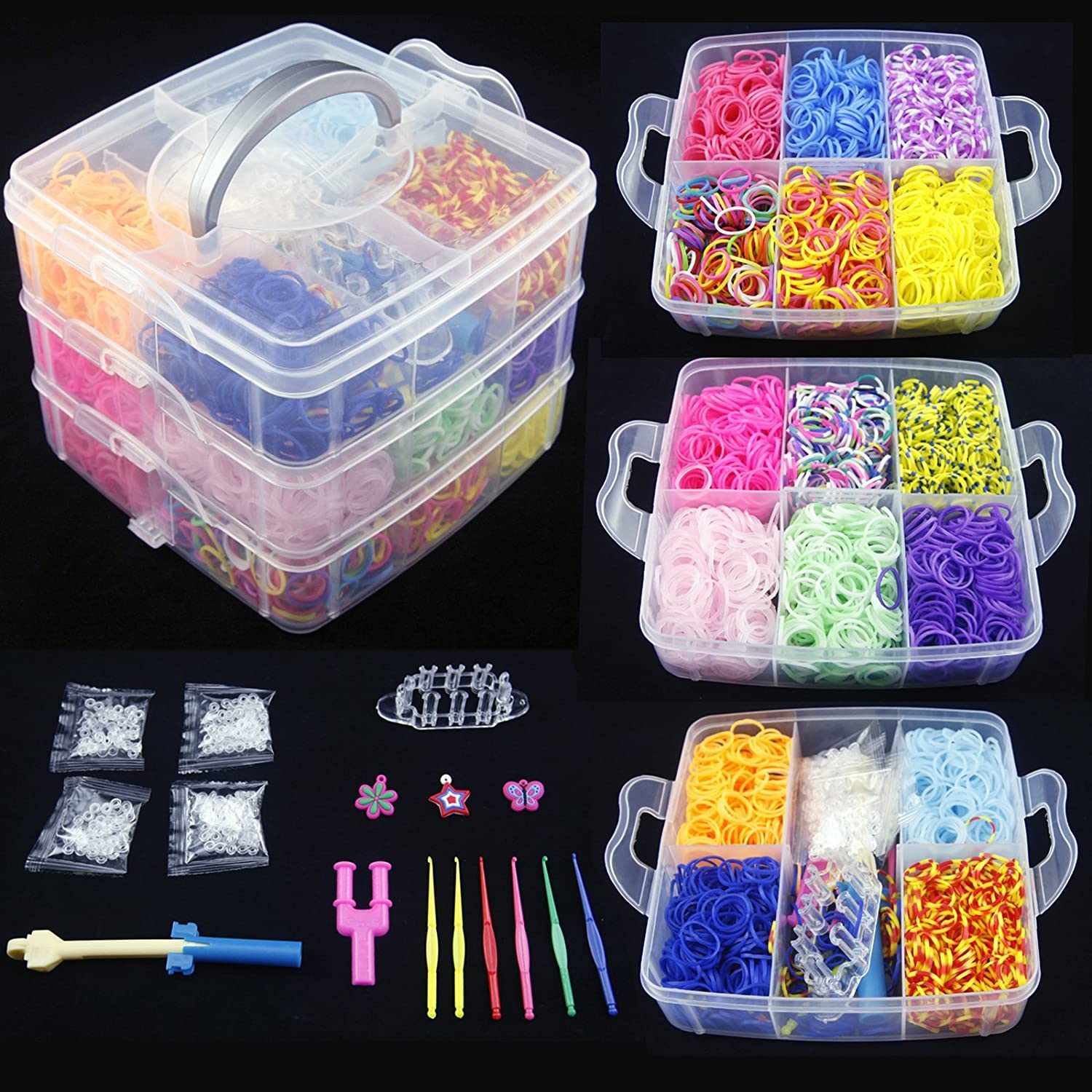 loom table the color rainbow pile and bracelets rubber colorful round for photo making on small stock of hands bands
