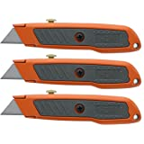 3-pack Utility Knife Set Knife with Rubber Handle and 3 Position Locking Blade