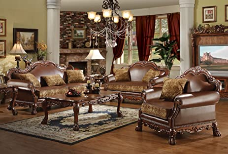 Amazoncom ACME Dresden Living Room Set with Sofa and Loveseat