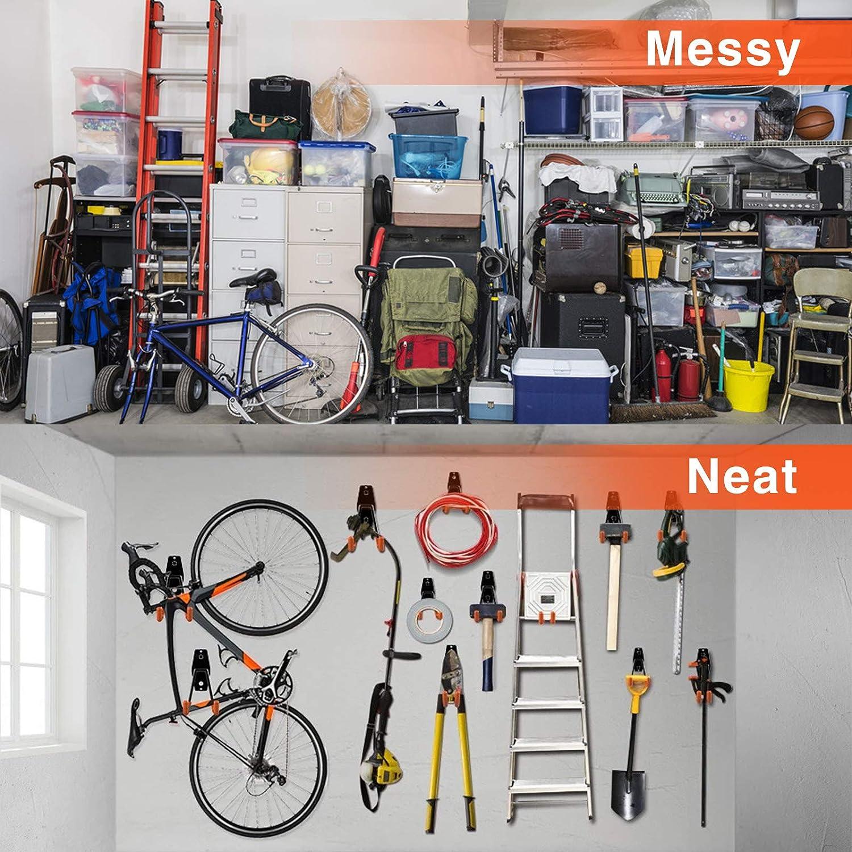 Ganchos para garaje,paquete de 5 ganchos de acero para almacenamiento de garaje de alta resistencia con tornillos,para organizar herramientas el/éctricas,escaleras,art/ículos a granel,tuber/ías