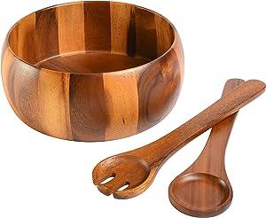 Gibson Home Laurel 3-Piece Acacia Wood Salad Bowl Set