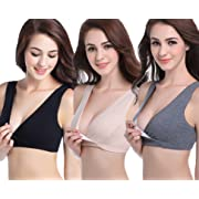 CAKYE Women's Maternity Nursing Bra for Sleep and Breastfeeding 3 Pcs/Pack (Medium/36B,36C,36D, Black/Deep Grey/Nude)