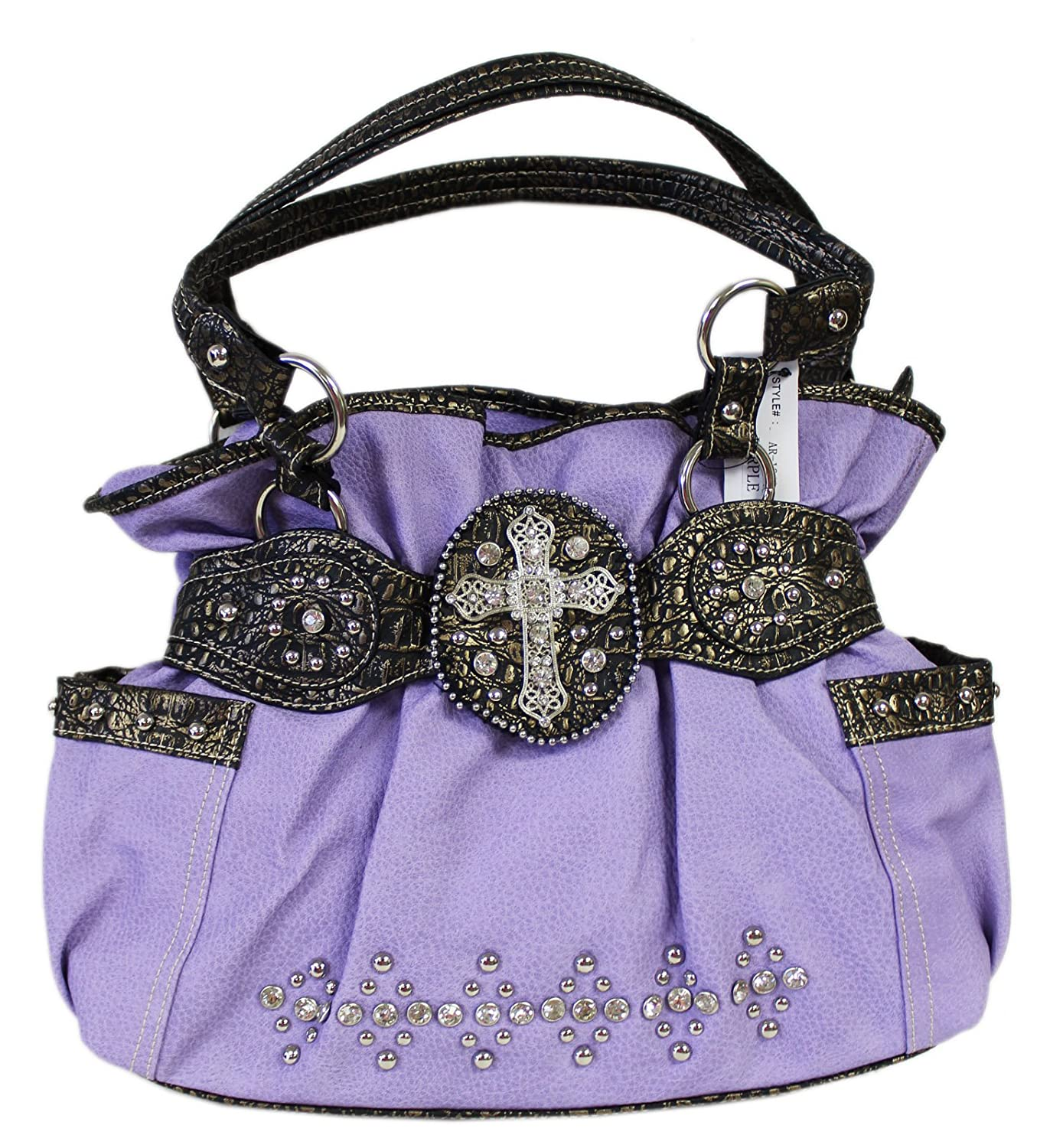 Purple Western Hobo Shoulder Bag With Zipper Top Closure