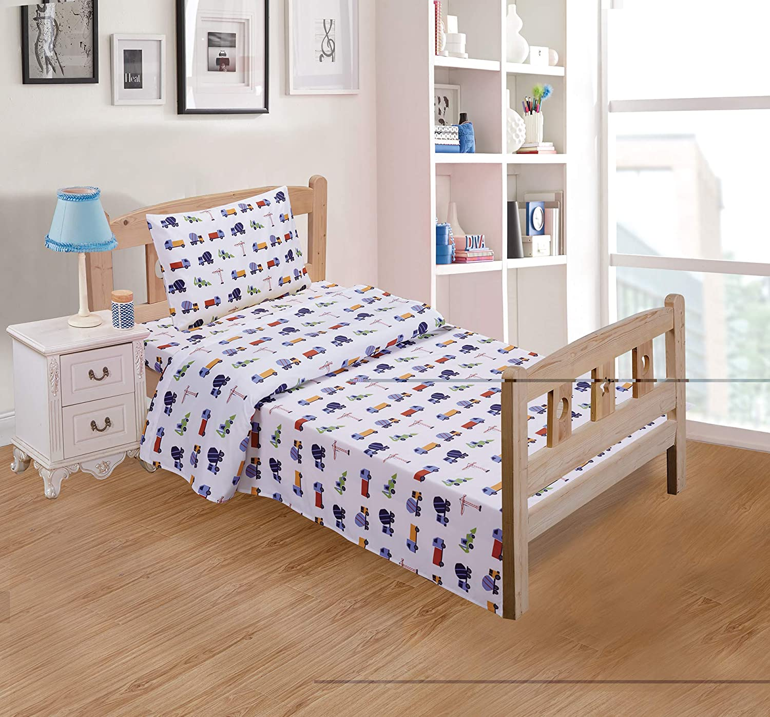 Luxury Home Collection 3 Piece Crib Sheet Set Construction Vehicles Trucks Cement Blue Red White Green Yellow (Crib Sheet)