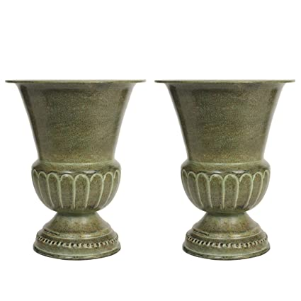 Amazon Hosley Set Of 2 Green Metal Vases 8 High Ideal For