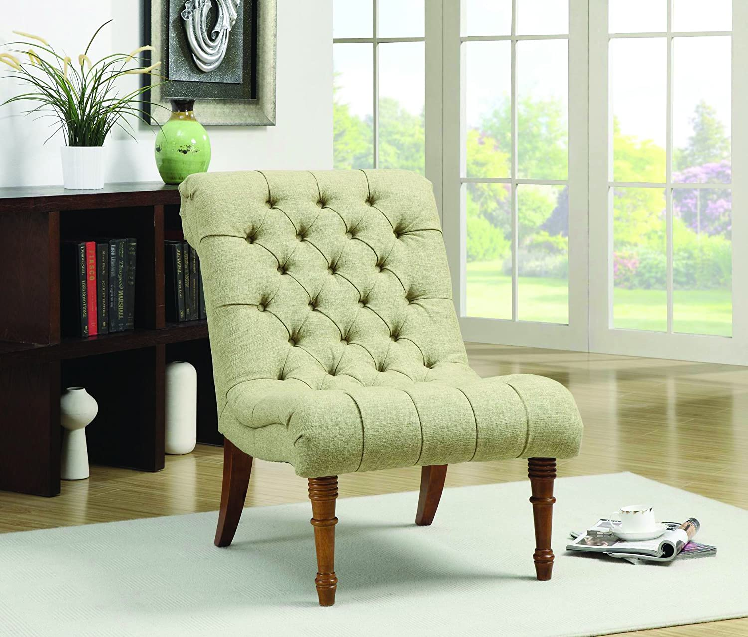 Amazoncom Tufted Accent Chair Without Arms Mossy Green Kitchen