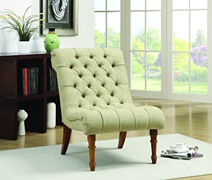 Image Unavailable & Amazon.com: Tufted Accent Chair without Arms Mossy Green: Kitchen ...