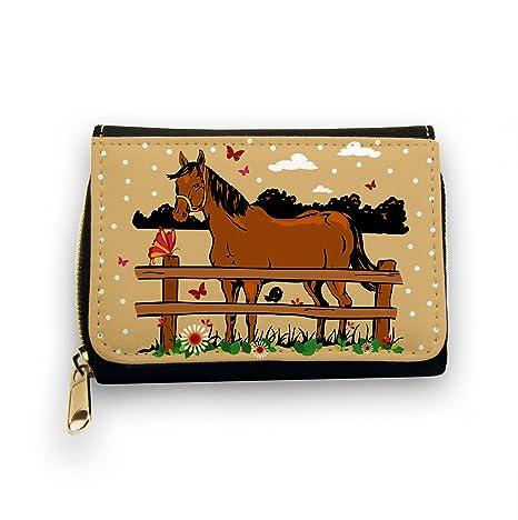 Monedero Cartera Caballos estabilizadora caballo con mariposas marrón gk045