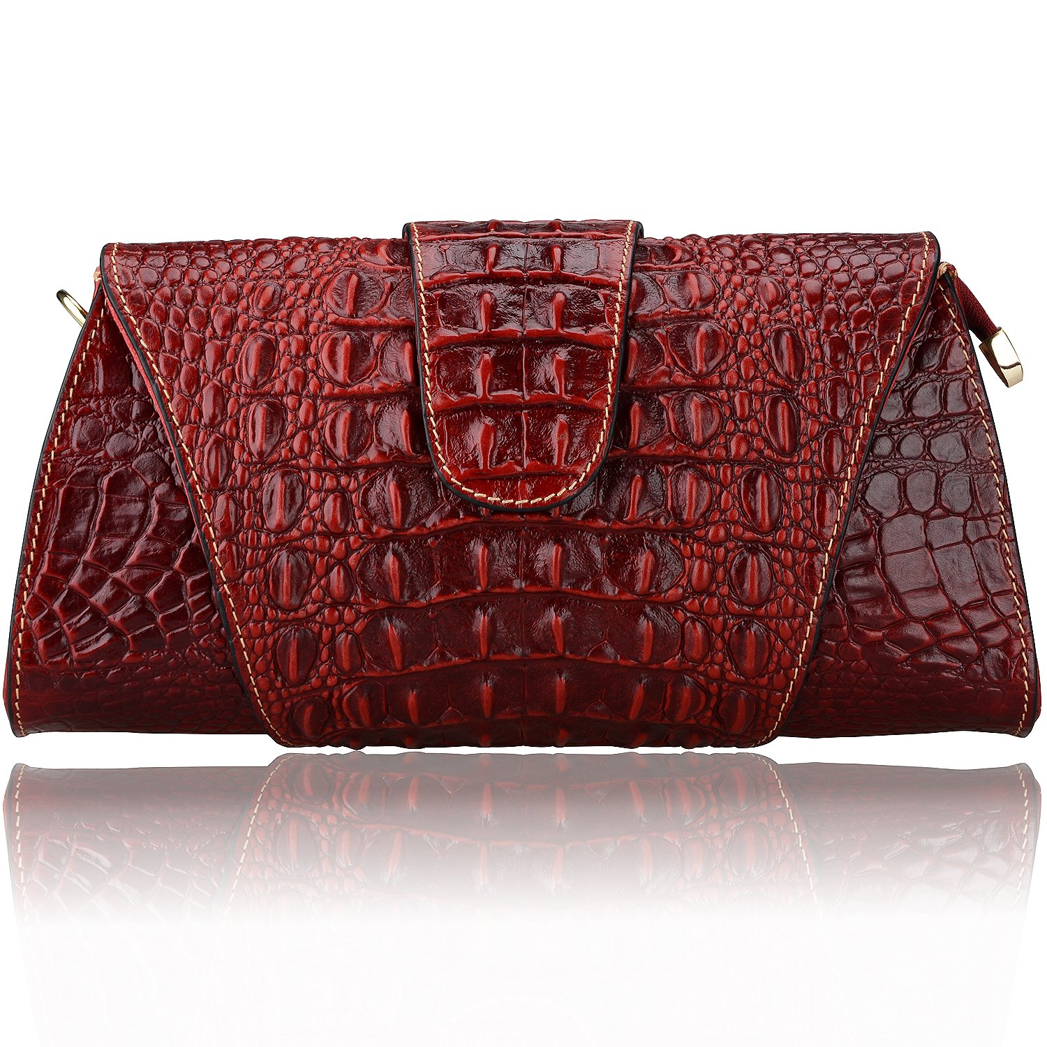 Pijushi Croco Embossed Leather Clutch Bag Cross Body Handbag 8062 (One Size, Red)