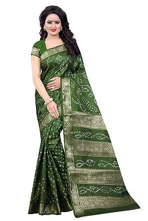 19417e6abe Wedding Villa New Dark Green Bandhej Print Cotton Silk Bandhani ...