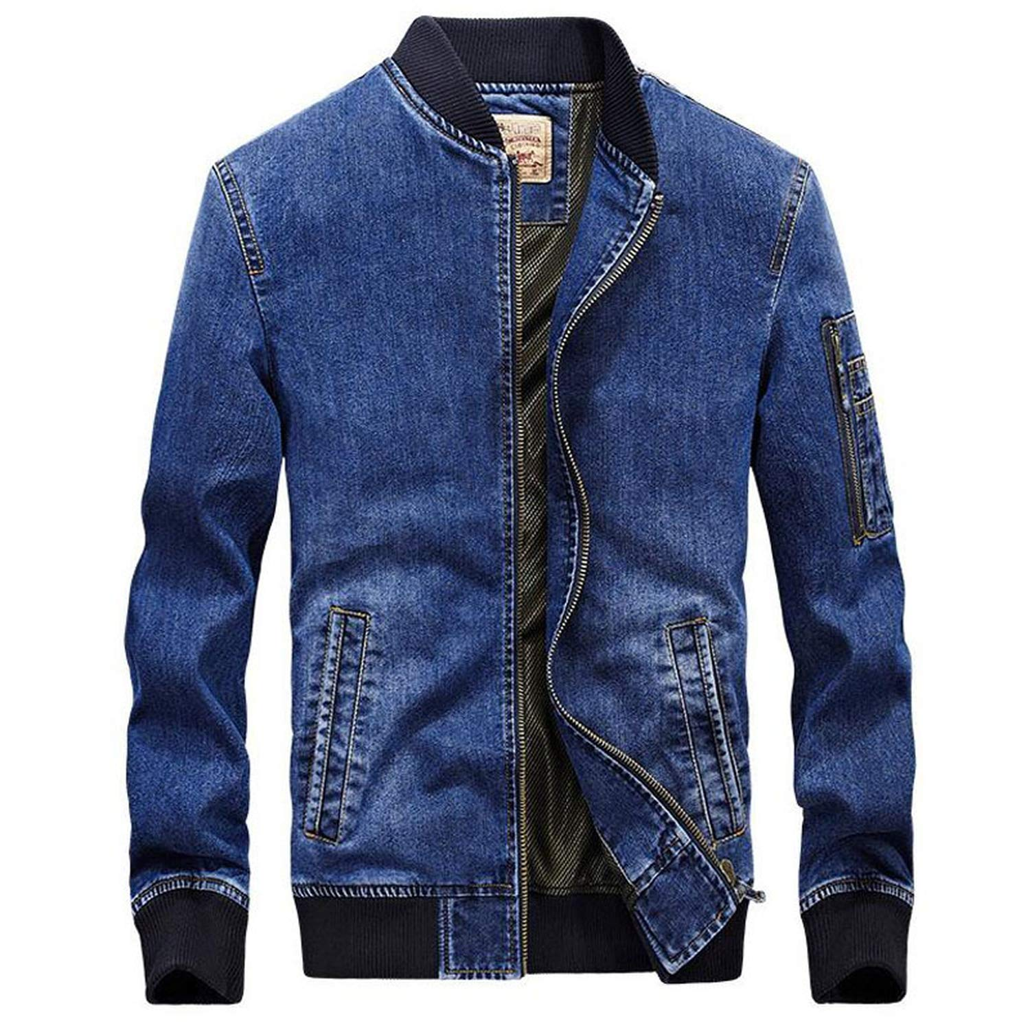 Joyhul Men Jeans Jacket Bomber Denim Jackets Mens Casual ...