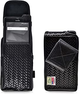 product image for Sonim XP8 Basket Weave Black Leather Holster Pouch Vertical with Rotating Belt Clip & Magnetic Closure