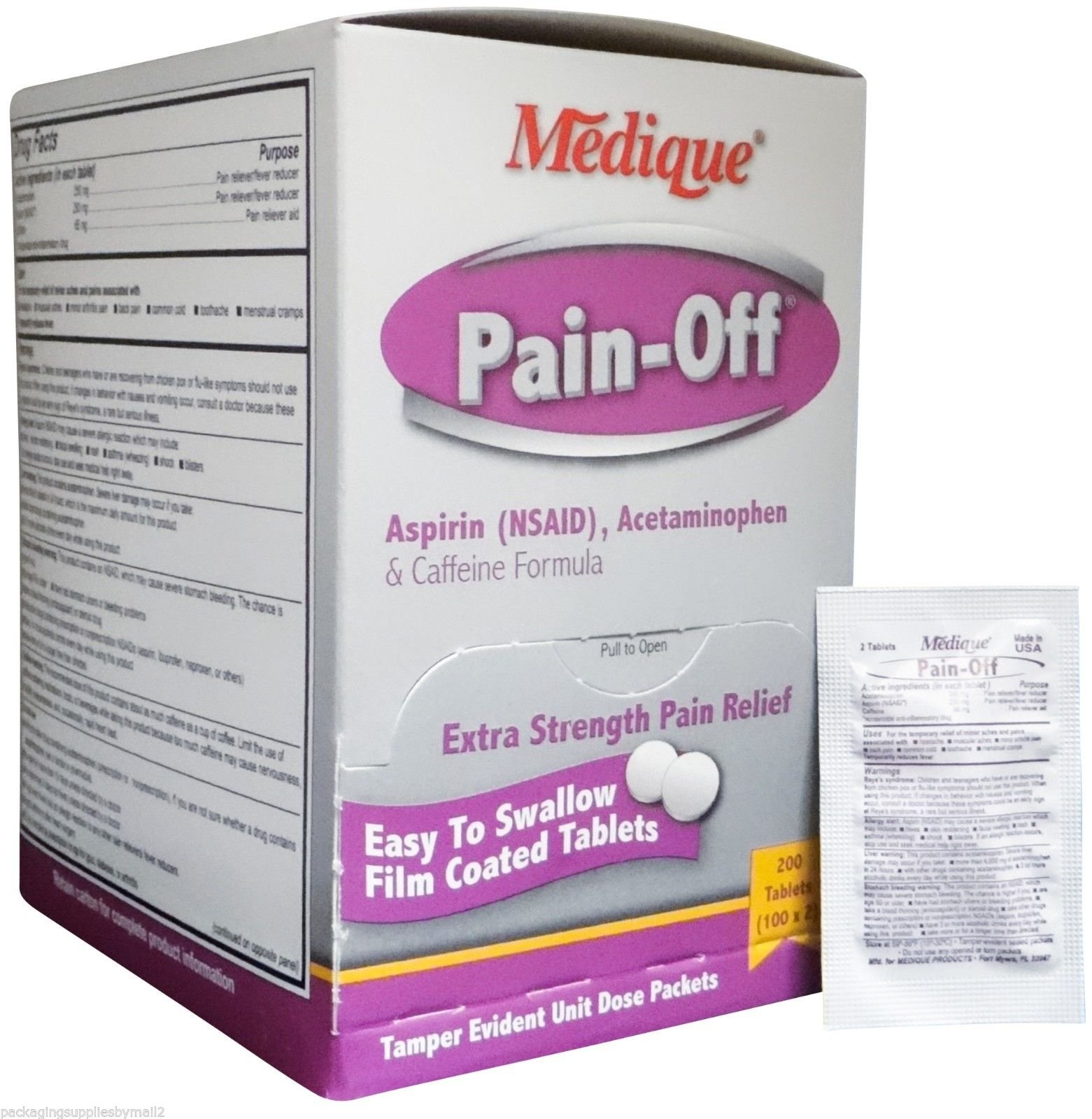 Pain-Off Extra Strength Pain Reliever Tablets (200 /Bx) 6 Boxes (1200 tablets) by Medique - MS71170 by Medique