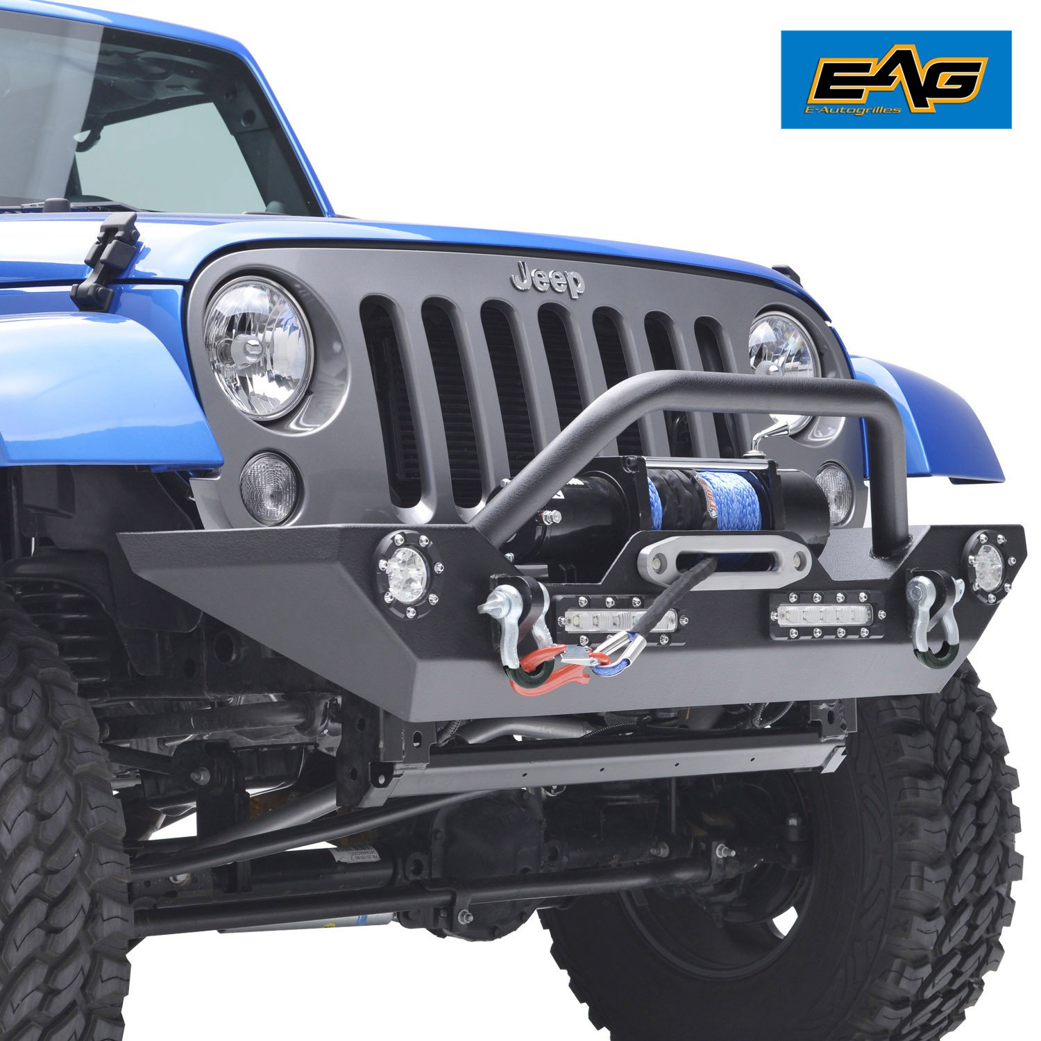 Eag Jeep Jk Led Accent Light Front Bumper W D Ring Winch Wiring Schamitic Wrangler Built In Mount Plate Automotive