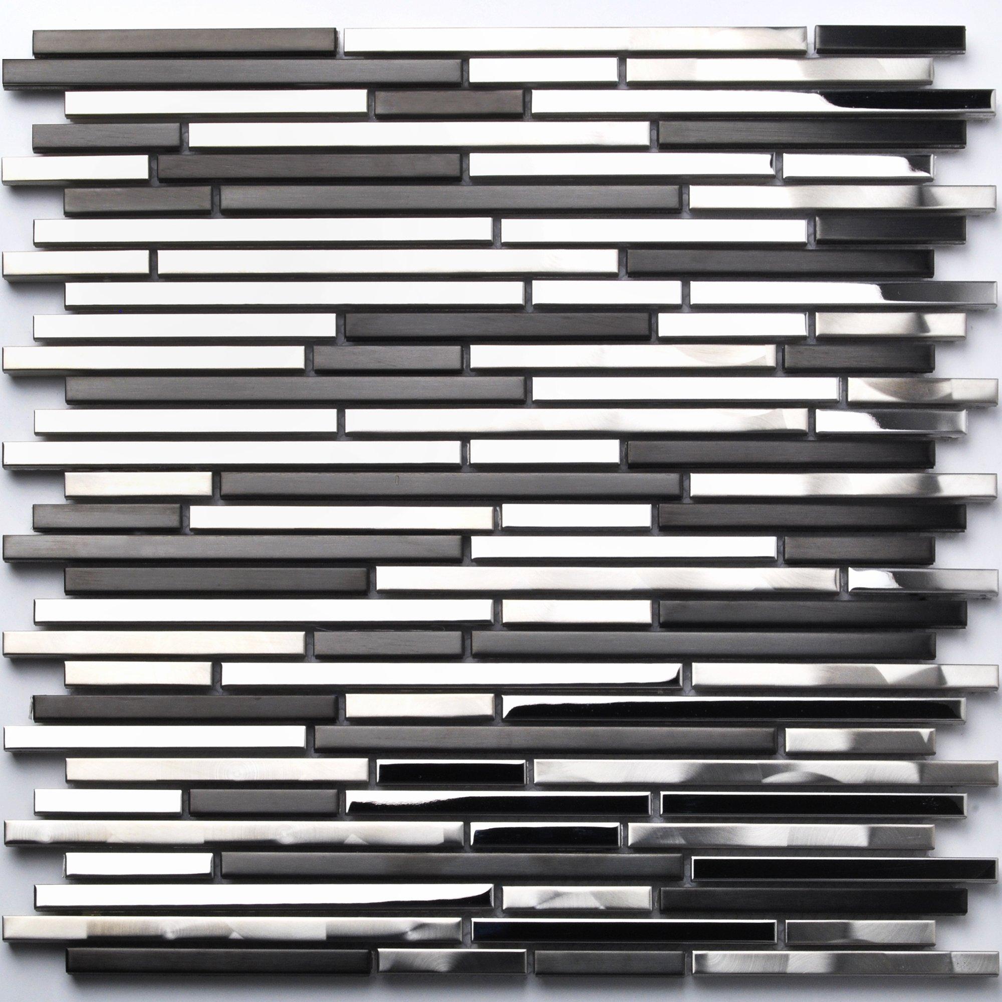 Stainless Steel Tile Interlocking Black Silver CD Marks Kitchen Backsplash Decor Strip Metal Tile TSTMBT018 (11 PCS [12'' X 12''/each])