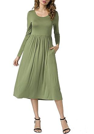 POSESHE New Women s long Sleeve Casual Loose Pocket Tunic Dress Army Green S 0dab82e49
