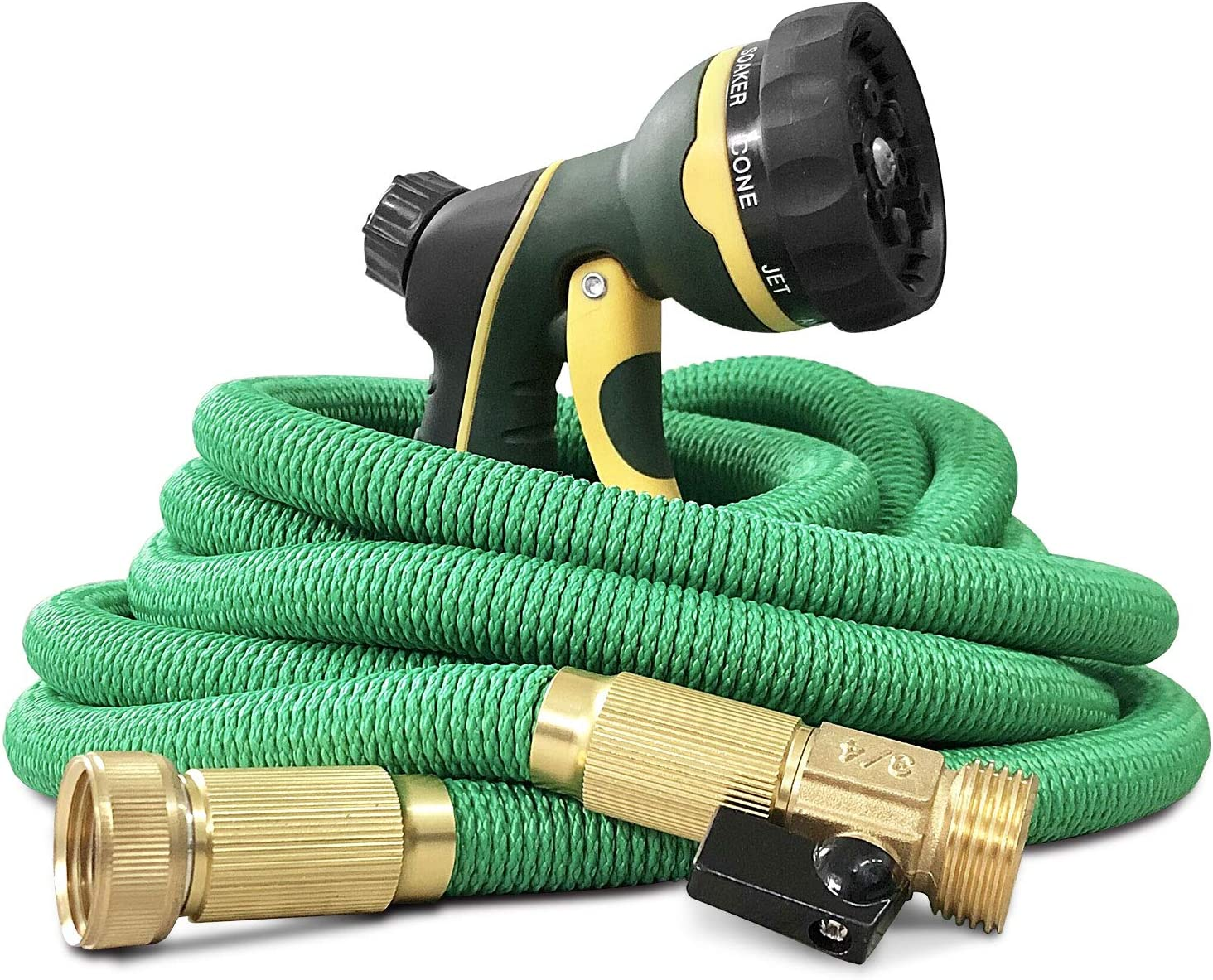 NGreen Expandable and Flexible Garden Hose - 25/50/75/100 Feet Strongest Triple Core Latex and Solid Brass Fittings Free Spray Nozzle 3/4 USA Standard Easy Storage Kink Free Water Hose (50 FT)